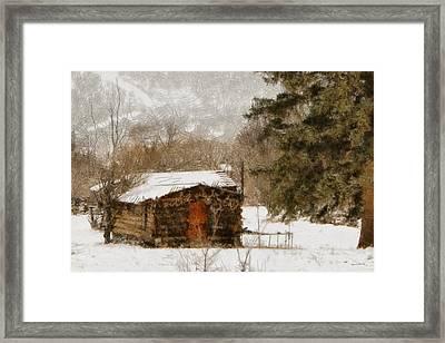 Winter Cabin 2 Framed Print by Ernie Echols