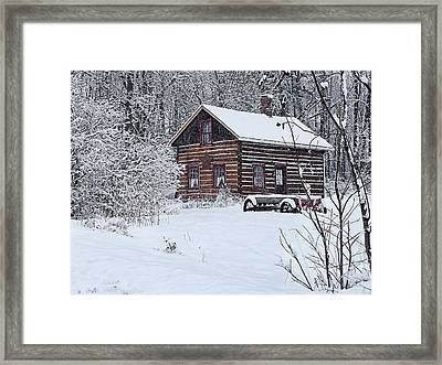 Framed Print featuring the photograph Winter Cabin by Judy  Johnson