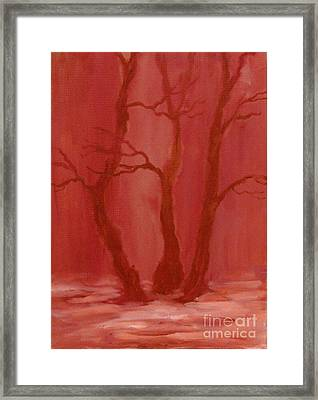 Winter Evening In The Park Framed Print by Anna Folkartanna Maciejewska-Dyba