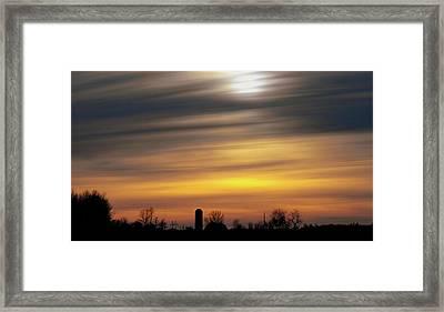 Winter Farm Sunset Framed Print