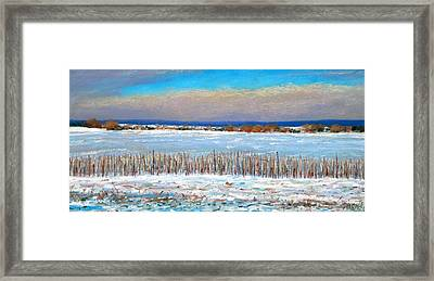 Winter Fields With Snow Fence Framed Print by Bob Richey