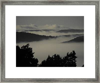 Winter Fog Mountains Framed Print by Rebecca Cearley