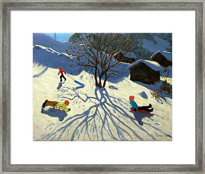 Winter Hillside Morzine France Framed Print by Andrew Macara