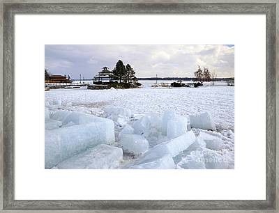 Winter In Lake Simcoe Framed Print by Charline Xia