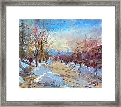 Winter In Silverado Dr Mississauga On Framed Print by Ylli Haruni