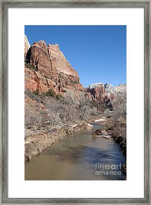 Winter In Zion 2 Framed Print by Bob and Nancy Kendrick