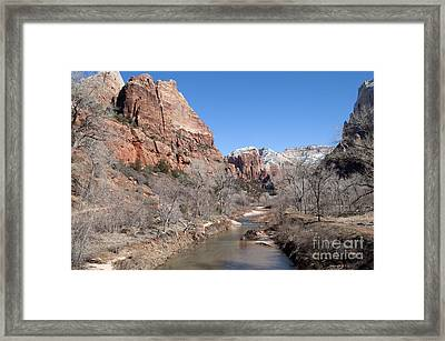 Winter In Zion Framed Print by Bob and Nancy Kendrick