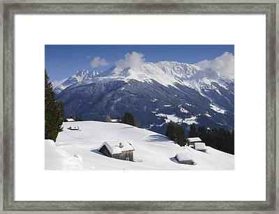 Winter Landscape In The Mountains Framed Print
