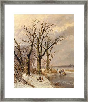 Winter Landscape With Faggot Gatherers Conversing On A Frozen Lake Framed Print