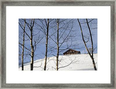 Winter Landscape With House And Trees Framed Print