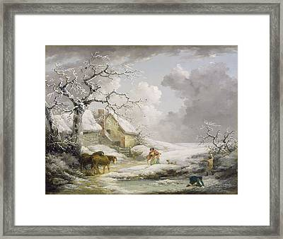Winter Landscape With Men Snowballing An Old Woman Framed Print by George Morland