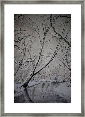 Framed Print featuring the drawing Winter Light by Lynn Hughes