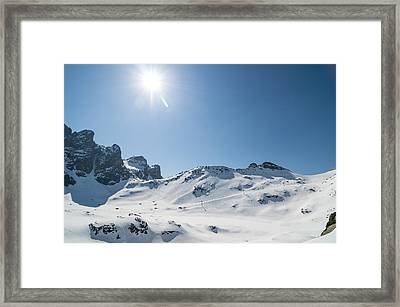 Winter Mountain Landscape With Sun Framed Print