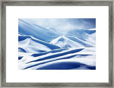 Winter Mountain Ski Resort Framed Print by Anna Om