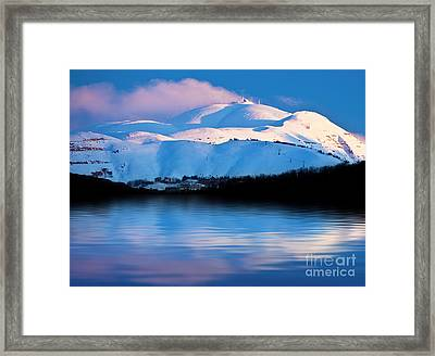 Winter Mountains And Lake Snowy Landscape Framed Print by Anna Om