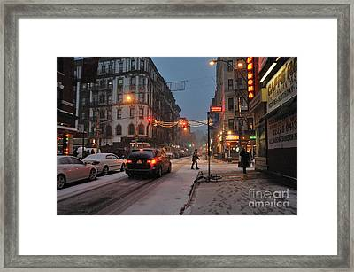 Winter Night On Mulberry Street Framed Print by Ed Rooney