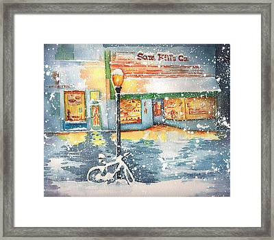 Winter On Whiskey Row Prescott Arizona Framed Print by Sharon Mick