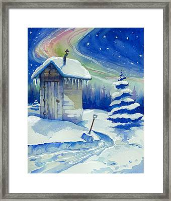 Winter Outhouse Framed Print by Peggy Wilson