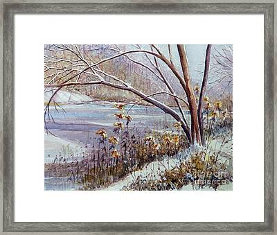 Framed Print featuring the painting Winter River by Louise Peardon