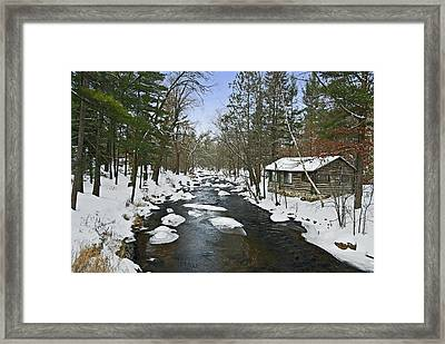 Framed Print featuring the photograph Winter Saxeville Log Cabin by Judy  Johnson