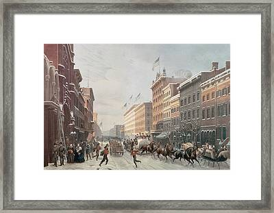 Winter Scene On Broadway Framed Print by American School