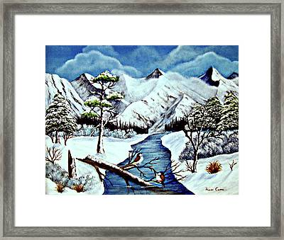 Framed Print featuring the painting Winter Serenity by Fram Cama