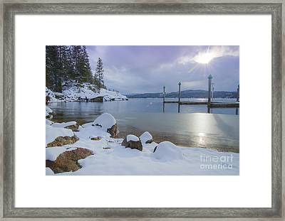 Winter Shore Framed Print by Idaho Scenic Images Linda Lantzy