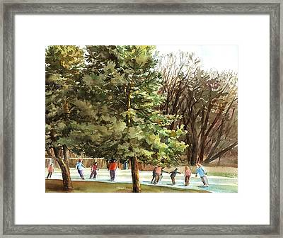 Winter Skating Framed Print by Peter Sit