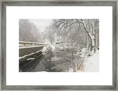 Winter Snowstorm In Somesville Maine Framed Print by Keith Webber Jr