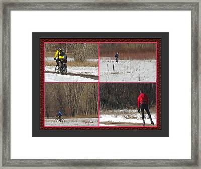 Winter Sports 2 On Bear Creek Trail Framed Print by Gretchen Wrede