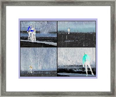 Winter Sports On Bear Creek Trail Framed Print by Gretchen Wrede