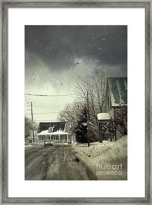 Winter Street Scene With A Car In A Small Town  Framed Print