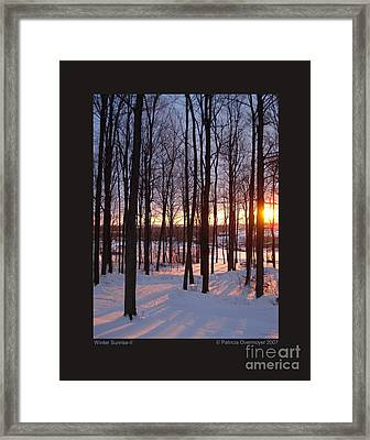 Framed Print featuring the photograph Winter Sunrise-ii by Patricia Overmoyer