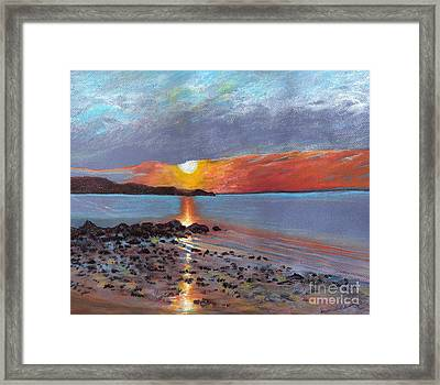 Winter Sunset Centre Island Beach Framed Print by Susan Herbst