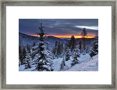 Winter Sunset Framed Print by Ionut Hrenciuc