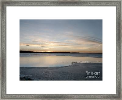 Framed Print featuring the photograph Winter Sunset Over Lake by Art Whitton