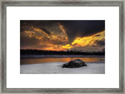 Framed Print featuring the photograph Winter Sunset by Yelena Rozov