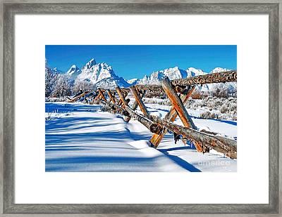 Winter Tetons Fence Framed Print by Richard Brady