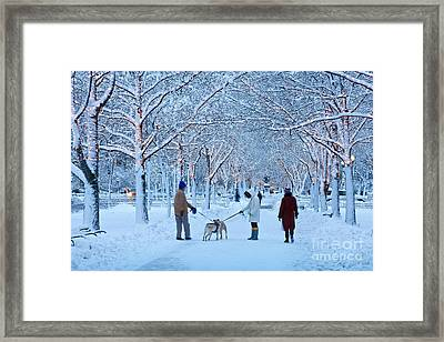 Framed Print featuring the photograph Winter Twilight Walk by Susan Cole Kelly