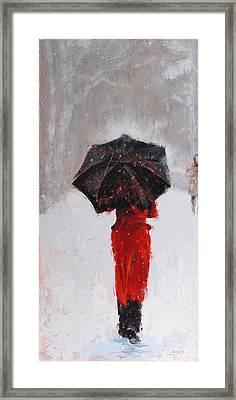 Winter Walk Framed Print by Laura Lee Zanghetti
