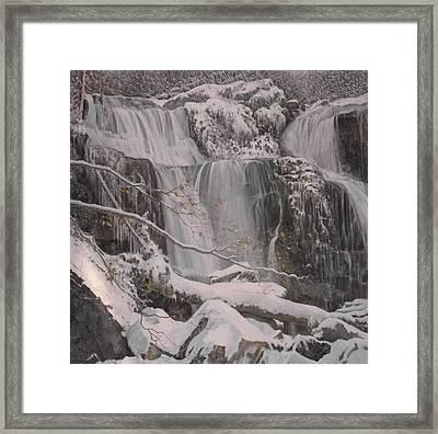 Winter Waterfalls Framed Print by Giacomo Alessandro Morotti