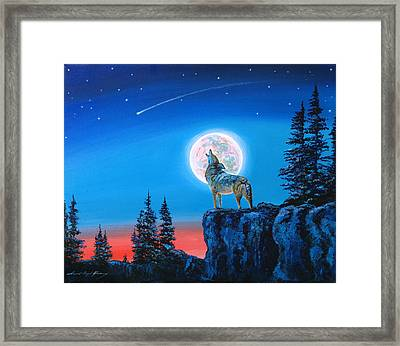 Winter Wolf Moon Framed Print by David Lloyd Glover
