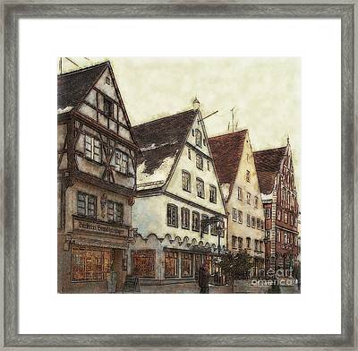 Winterly Old Town Framed Print