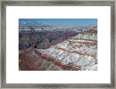 Winter's Touch At The Grand Canyon Framed Print by Sandra Bronstein