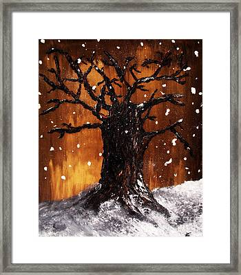 Framed Print featuring the painting Wintertree 3 by Ayasha Loya