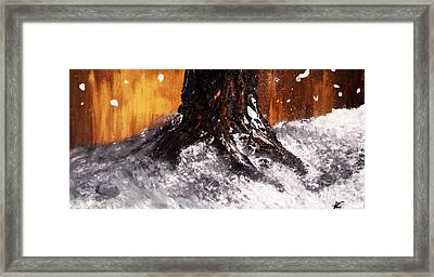 Framed Print featuring the painting Wintertree Trunk by Ayasha Loya