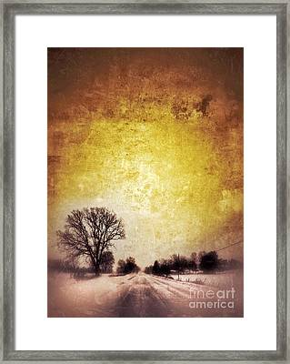Wintery Road Sunrise Framed Print by Jill Battaglia