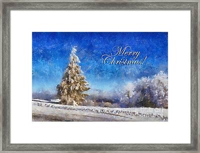 Wintry Christmas Tree Greeting Card Framed Print