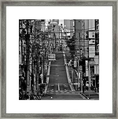 Wire Street In Yushima Framed Print by Sinkdd