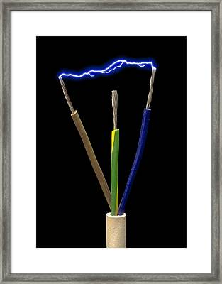 Wires Of A 3-pin Plug Showing Spark Discharge Framed Print